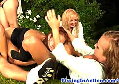 Hardcore group action with pissing babes