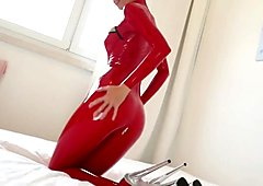 Laura Paradise - Red Latex Catsuit