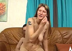Unattractive hoe with saggy tits takes cumshots on her chest