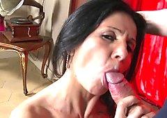 Sexy slim mom suck and fuck cocky son