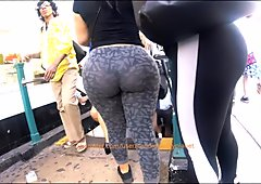 Candid Latina Big Phat Booty in Gray Leggings   VPL