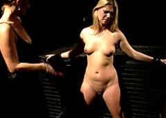 Pussy lips of blonde hooker is pinned with clothes peg