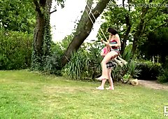 Busty Step Sisters experience outdoor Lesbian Loving