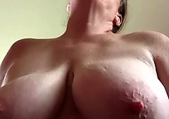 Horny mature grandma loves rubing her big clit after work