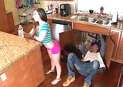 Asian milf teen lesbian The Plumber gets