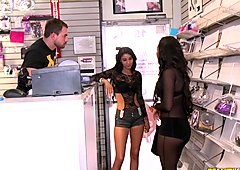Gianna Nicole fucks standing up in the shop