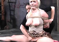 Bosomy blonde housewife Olivia Rose does leg split