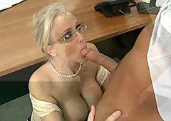 Blonde teacher Julia Ann gives amazing blowjob