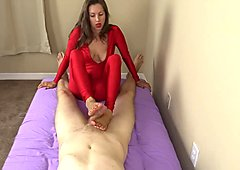 red spandex catsuit