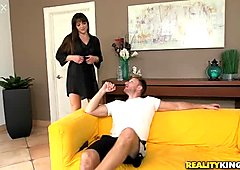 This lovely and adorable brunette milf is using her chance
