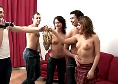 Perverted Russian girls take part in group sex orgy
