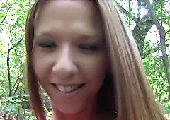 Slim long haired amateur bangs in woods