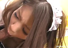 Horny maid Nao Kojima is poked actively in a missionary position