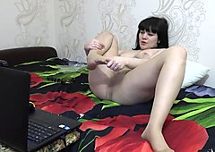 Smokes and masturbates the girl in nylon pantyhose