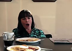 Chastity Lynn Eats MILF Pussy Under A Table