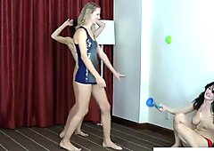 3 Very pretty girls compete in a physical strip game