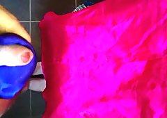 Cumming on Girlfriend's pink pajama top