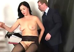 Dirty job interview for young brunette secretary girl