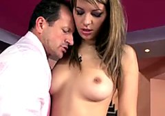 Devilish Norah Swan seduces her boss and fucks him in the office