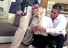 Elegant Blonde In Threesome Action