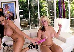 Jenna Presley and Sarah Vandella have vibrator fuck