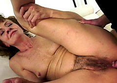 Anally fucked granny enjoys a younger cock