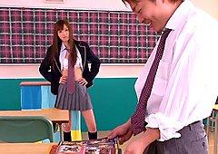 Japanese schoolgirl gives dude rusty trombone