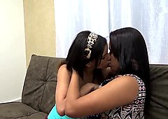 Little lesbians love touching and rubbing each other