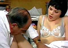 Horny doctor drills raven haired bonny nurse with big cucumber
