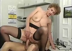 Romance with milf secretary in stockings at the office