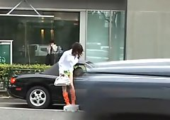 Hot Asian chick in public sex action