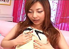 Shiho Kanou palming her tits and fingerfucking her pussy