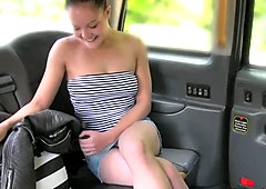 Hungarian babe flashing in a British fake taxi
