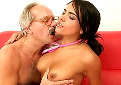 Attractive Latina babe gets her tasty cherry eaten by thirsty old daddy