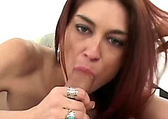 Raunchy redhead Tabatha has her face jizzed