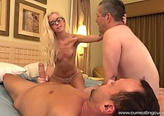 Halle Von and Her Cuck Husband Take Turns Sucking Dick