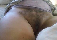 Exposing her Hairy Vagina