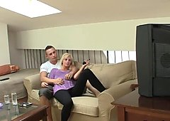Young blonde wife rides his angry cock