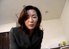 Alluring Japanese mother I'd like to fuck in an office dress sucks a large schlong be