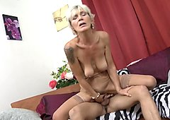 Horny granny with saggy tits fucked by a toyboy