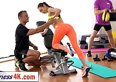 stunning brunette babe fucked hard by her fitness coach