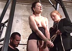 Slave Caroline Pierce whipping and strict double domination punishment of american BDSM model in dungeon bondage and severe pain