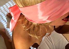 Blindfolded blonde