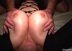 Cute busty girlfriend crotchless nylon bodystocking cumshot