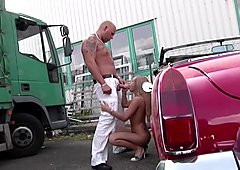18yr old Skinny German Teen from Street get fucked Outdoor