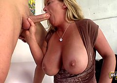 Samantha Lee takes a big thick meaty cock deep in her slutty mouth.