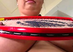 Big breasted bombshell has no idea how to play tennis