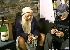 Homeless blond double-drilled