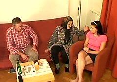 Amateur brunette masseuse Lucie Q gets seduces by old couple for FFM session