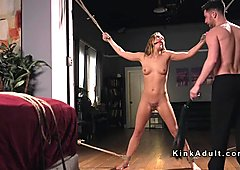 Brunette bound in bedroom flogged and anal fucked